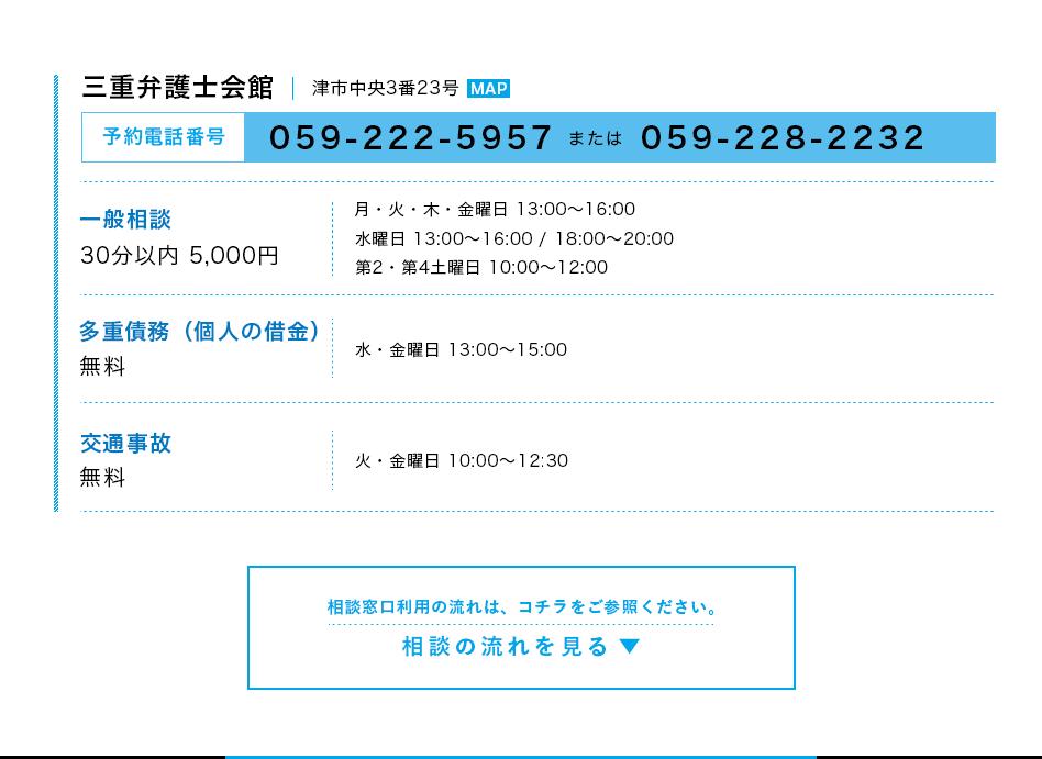 三重弁護士会館 津市中央3番23号 予約電話番号 059-222-5957または059-228-2232
