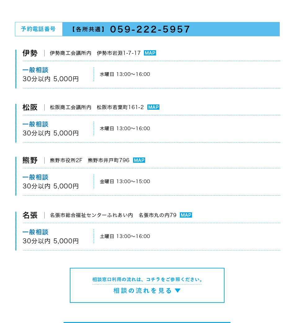 伊勢・松阪・熊野・名張 各所共通電話番号 059-222-5957